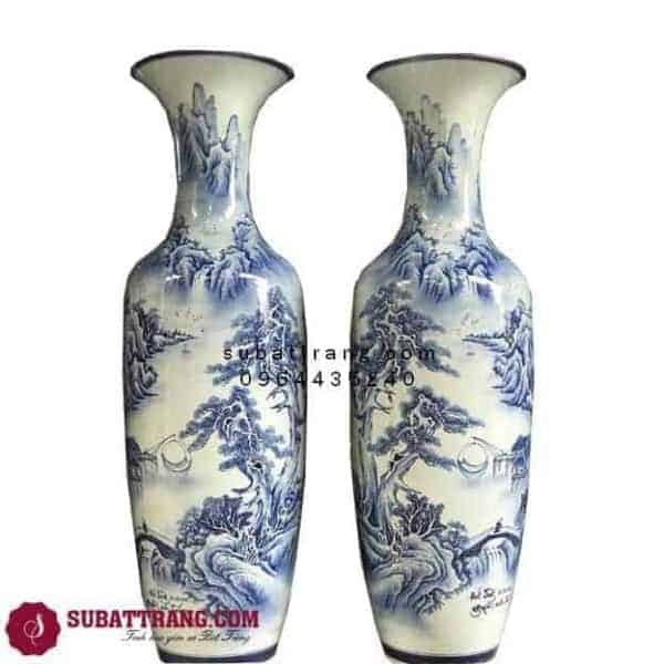 Lọ Lục Bình Bằng Sứ Bát Tràng Sơn Thủy Hữu Tình Vẽ Kỹ 1m4 – 70059