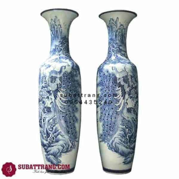 Lục Bình Bát Tràng Công Tùng Men Lam Vẽ Kĩ 1m4 – 70063