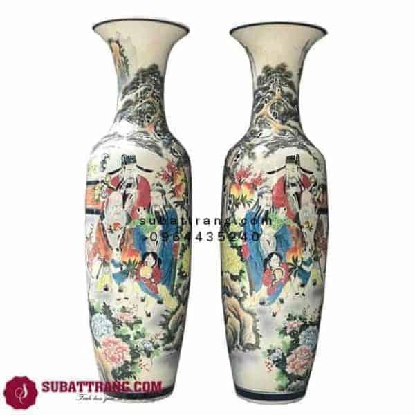 Lục Bình Phong Thủy Bát Tràng Phúc Lộc Thọ Vẽ Kỹ 1m4 – 70060