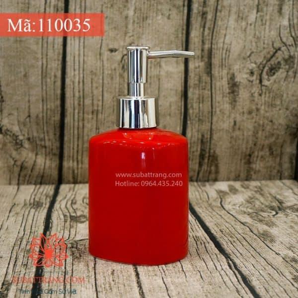 Bình Đựng Dầu Gội Sữa Tắm Dáng Oval Men Đỏ Bóng - 110035