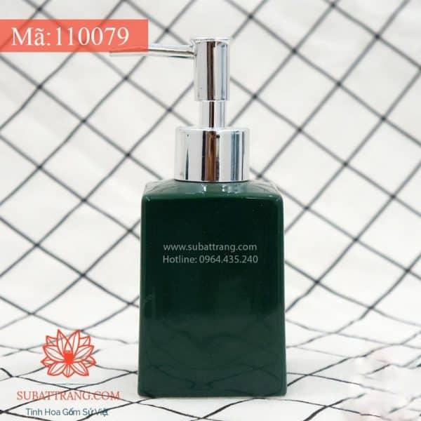 Bình Đựng Dầu Gội Sữa Tắm Dáng Vuông Men Xanh Lục - 110079