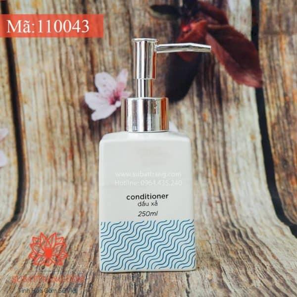 Bình Đựng Dầu Gội Sữa Tắm Dáng Vuông Sóng Xanh - 110043