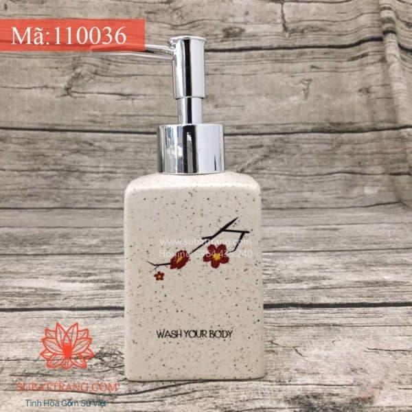 Bình Đựng Dầu Gội Sữa Tắm Hoa Đào Dáng Vuông - 110036